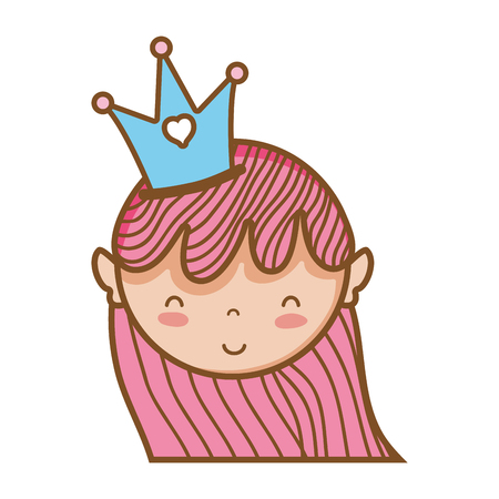 woman head with crown and hairstyle design vector illustration