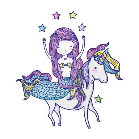 beautiful woman siren ride unicorn with stars vector illustration Illustration