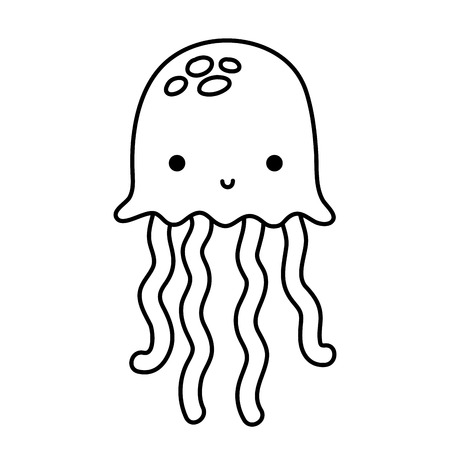 line jellyfish marine animal and exotic tentacles Stock Vector - 98550187
