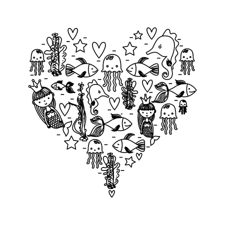 line women sirens with marine animals inside heart Illustration