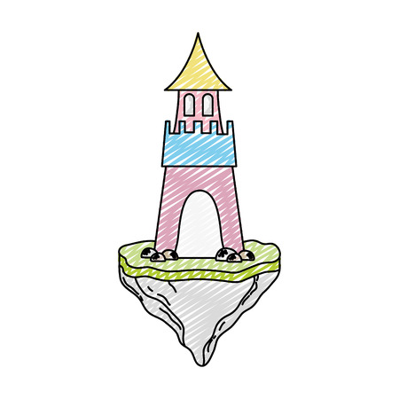 doodle sweet medieval castle in the floating rock Vector illustration. Ilustração