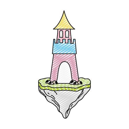 doodle sweet medieval castle in the floating rock Vector illustration. Illustration