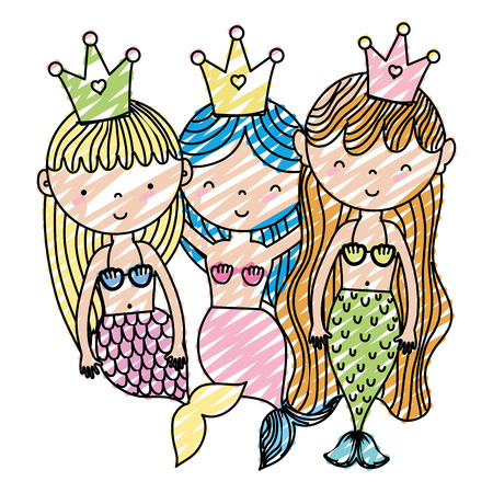 doodle happy women sirens friends with crown Vector illustration.