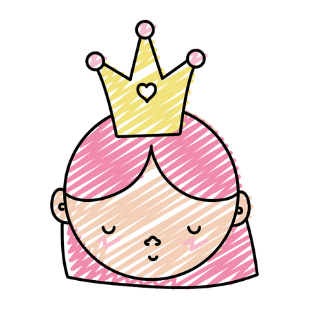doodle cute woman head with hairstyle and crown Vector illustration.