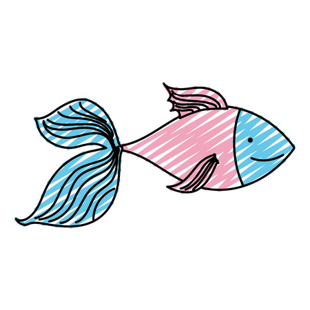 doodle nature fish animal in the sea water Vector illustration. 向量圖像