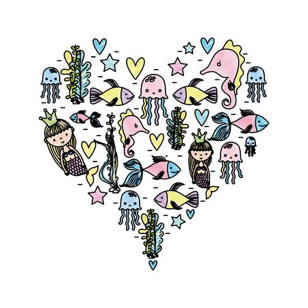 doodle women sirens with marine animals inside heart Vector illustration.