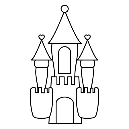 line fantasy medieval castle with cute design Vector illustration. Ilustração