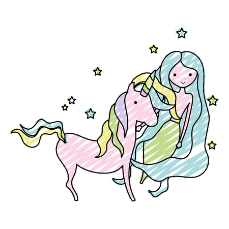 doodle beauty woman siren with nice unicorn Vector illustration. Ilustrace