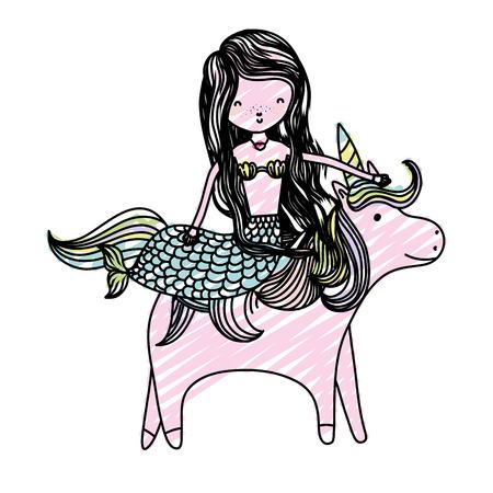 doodle pretty woman siren ride cute unicorn Vector illustration. Ilustrace