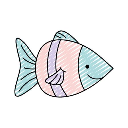 doodle nature aquatic fish sea animal Vector illustration. Ilustrace