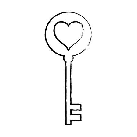 Grunge key security object with heart design vector illustration. Illustration
