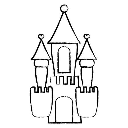 Grunge fantasy medieval castle with cute design vector illustration.