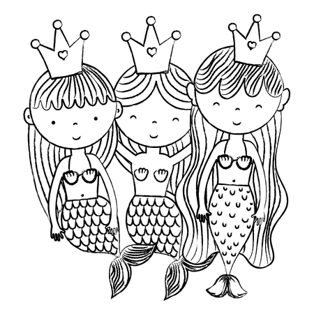 Grunge happy women sirens friends with crown vector illustration.