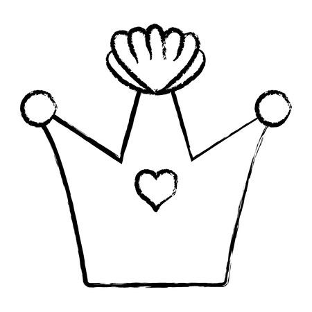 Grunge queen crown luxury jewelry decoration vector illustration.
