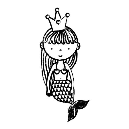 grunge cute woman siren with crown and hairstyle vector illustration Vettoriali