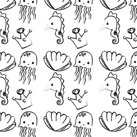 Grunge luxury crown with marine animals background vector illustration. Illustration