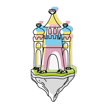 Moved color cute medieval castle in the floating island.