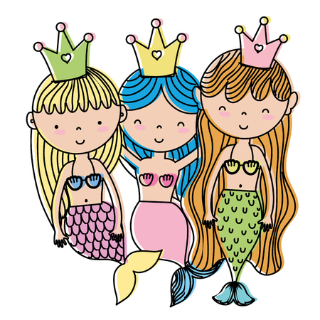 Colored happy sirens with crown vector illustration. Illustration