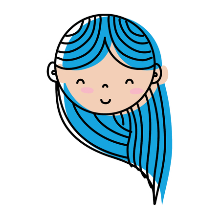 Happy woman head with hair style design vector illustration.