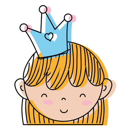 Moved color cute woman head with crown and hairstyle. Illustration