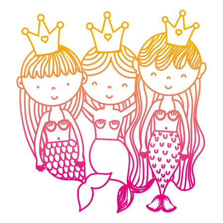 degraded line happy women sirens friends with crown vector illustration