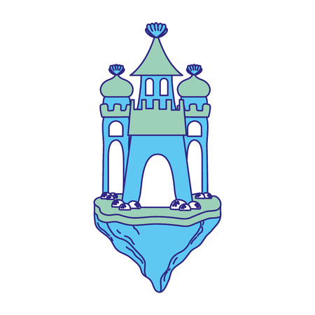 Duo color cute medieval castle in the floating island vector illustration.