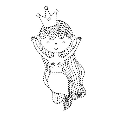 Dotted shape happy woman siren with crown and hairstyle.