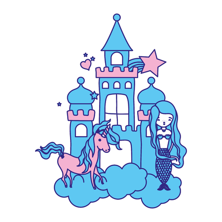 Duo color beauty woman siren with unicorn in the castle.
