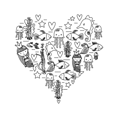 Dotted shape women sirens with marine animals inside heart.