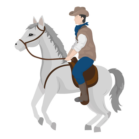 Man with hat ride horse animal vector illustration.