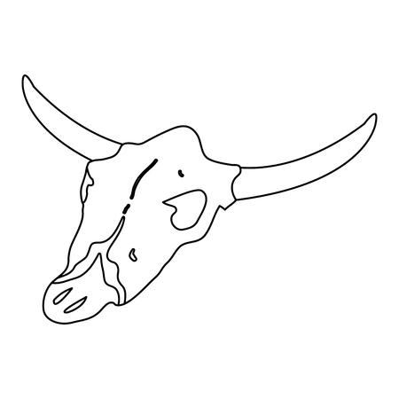 line buffalo animal dead skull in the desert vector illustration