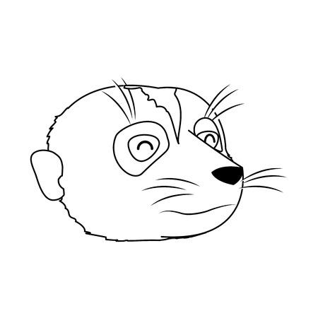line cute meerkat head wild animal vector illustration