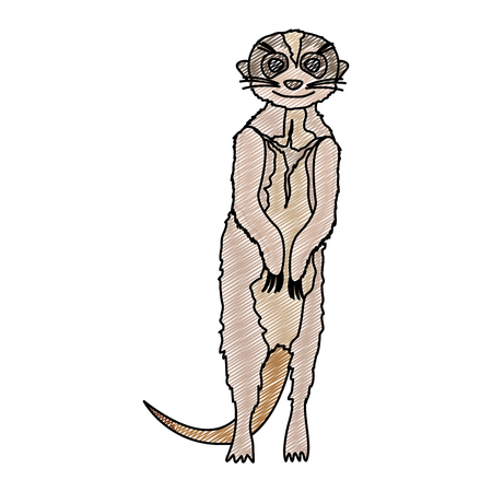 doodle cute meerkat wild animal in the desert vector illustration