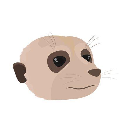 cute meerkat head wild animal vector illustration