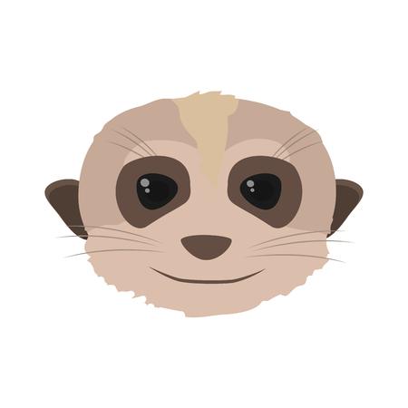 nice meerkat head wild animal vector illustration