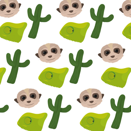 cactus plant with chameleon and meerkat background vector illustration