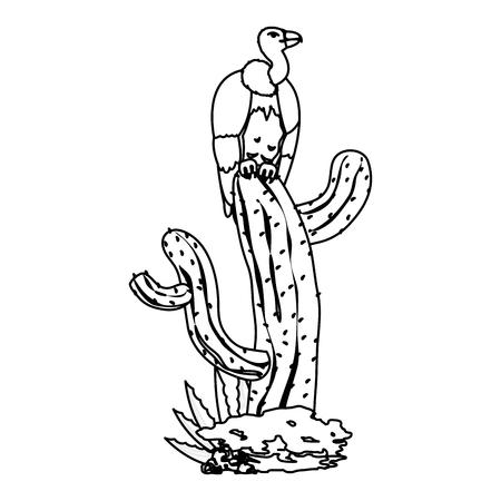 line wild vulture animal in the cactus plant vector illustration Иллюстрация