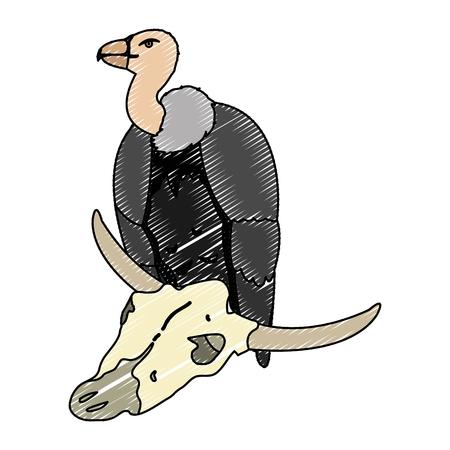 doodle wild vulture animal with buffalo skull vector illustration