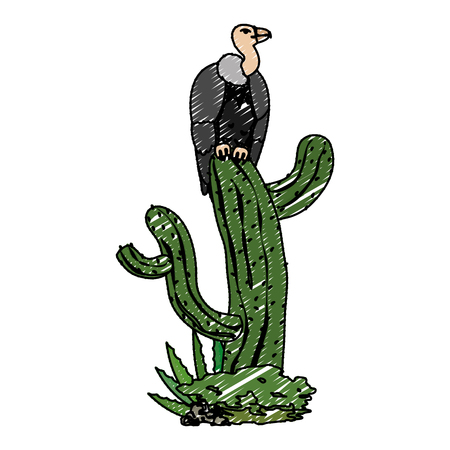 doodle wild vulture animal in the cactus plant vector illustration