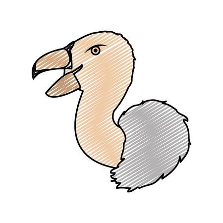 doodle wild vulture head predator animal vector illustration Иллюстрация