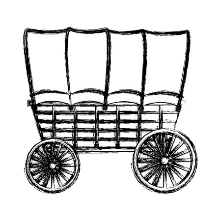 grunge carriege with wheel travel transport vehicle vector illustration