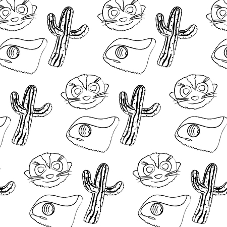 Grunge cactus plant with chameleon and meerkat background  illustration Illustration