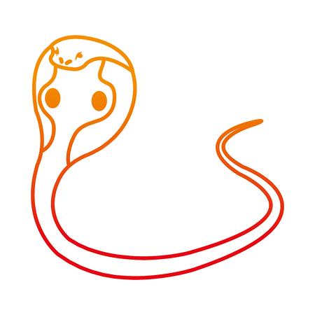 Wild king cobra icon line illustration.