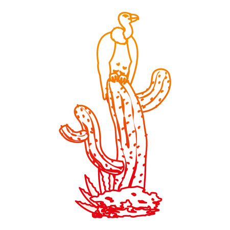 Wild vulture in the cactus plant line illustration Illustration