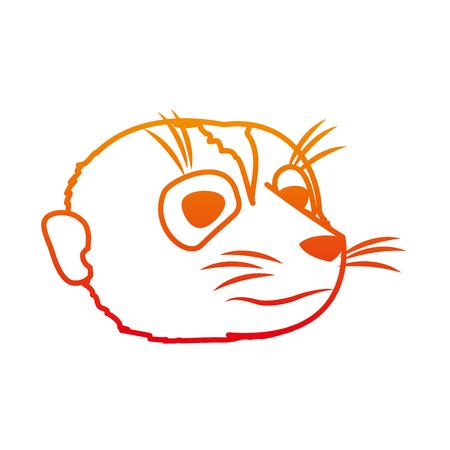 Cute meerkat head line illustration Illustration
