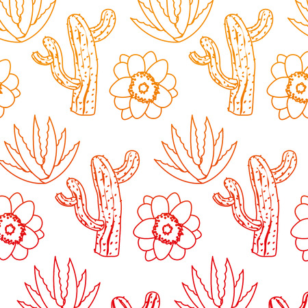 Nature cactus with flower and plant background Illustration