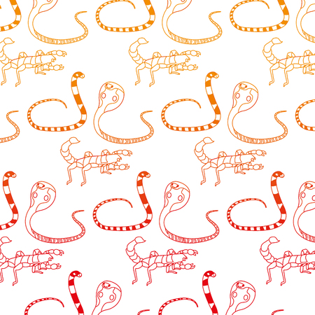 Wild snake with scorpion and king cobra background