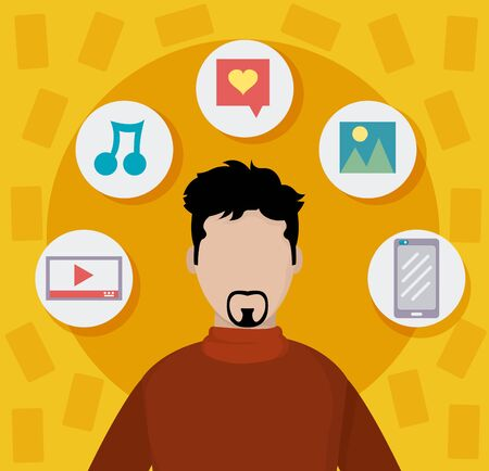 Young man with beard on social media on yellow background. Illustration