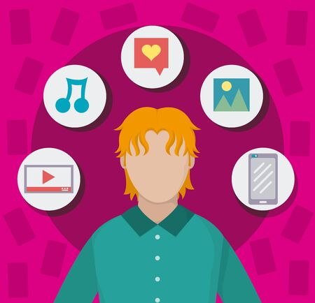Young man with orange hair on social media on pink background.
