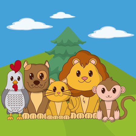 Cute animals cartoons on landscape vector illustration graphic design Vectores